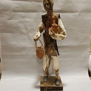 Paper Machete figurine w water pail